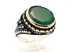 ROUND GREEN AGATE 925 STERLING SILVER BRONZE HANDMADE MEN'S RING SIZE 11.5 US