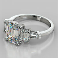 2.31CTW Emerald Cut Five-Stone Engagement Ring in 14K Solid White Gold Size 7
