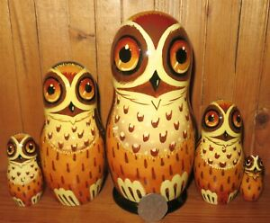 Slight Seconds Owl Brown Matryoshka 5 Nesting Russian Dolls signed Gorodetskaya