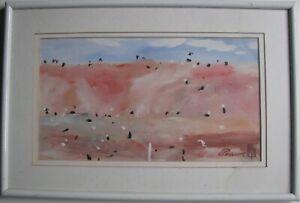 """COLIN PASSMORE AUSTRALIAN FRAMED OIL """"PINK MOUNTAIN RANGE"""" 1986 A"""