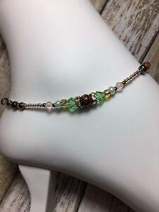 Healing Handmade Tigers Eye Stone Anklet/Ankle Bracelet W/Swarovski Elements USA