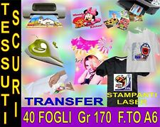 40 FOGLI A6 170 GR CARTA TRANSFER FOTOGRAFICA TESSUTI SCURI STAMPA INKJET