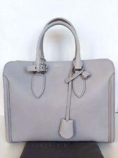 $2760 Alexander McQueen Heroine Open Tote Satchel Bag Silver Blue