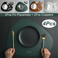 2Pcs/Set Kitchen Placemats Coasters Dining Table Bowl Mats PU Leather Washable