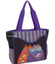 Laurel Burch 2 Wishes Cats M/L Shoulder Tote Bag Quilted New RETIRED