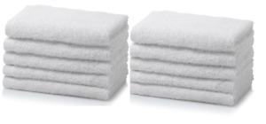 12x White Face Cloths Flannels Towels | Wash Cloths 100% Egyptian Cotton 500 GSM
