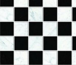 Dolls House Black & White Floor Tiles Miniature 1:12 Flooring Gloss Card Sheet