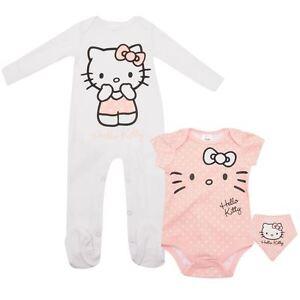 Lot pyjama grenouillère + body + bavoir HELLO KITTY 3-6 6-9 9-12 ou 18-24 mois