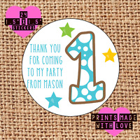 Personalised 24 1st birthday party bag stickers sweet cone labels thank you bb1