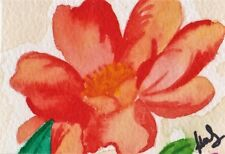 ACEO ORIGINAL miniature painting flower watercolour, floral, camillia, rose