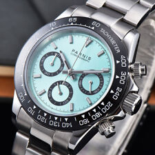 New Arrive 39mm PARNIS Blue Dial Quartz Mens Watch solid case full Chronograph