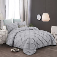 3 Pieces Gray Pintuck Duvet Cover For Comforter King Size Bedding Set US