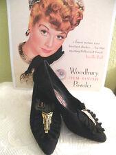 Gino Aldrovandi md Italy True Vintage Black Suede Designer Vamp Low Heels Sz 36