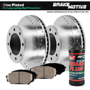 Front Drill And Slot Brake Rotors & Ceramic Pads For 1994 - 1999 Ram 2500 3500