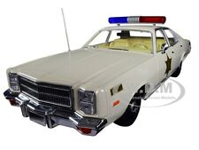 "1977 PLYMOUTH FURY ""HAZZARD COUNTY SHERIFF"" CREAM 1/18 DIECAST GREENLIGHT 19055"