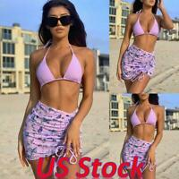 3PCS Sexy Women Swimsuit Bikini Bralette Tops Thong Skirt Lingerie Underwear US