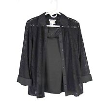 COLDWATER CREEK Layered Set M Nylon Lace Shirt Blouse with Camisole Twofer 10 12
