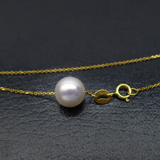 8-8.5MM Natural White Akoya Pearl Floating Pendant Necklace 18K SolidYellow Gold