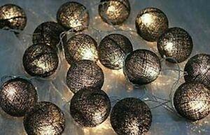 Black Noir 5cm Ball String Night LED Light Room Party Outdoor Event BATT PWR