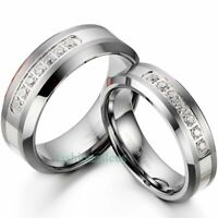 His 8mm & Hers 6mm Matching Comfort Fit Tungsten Carbide CZ Ring Wedding Bands