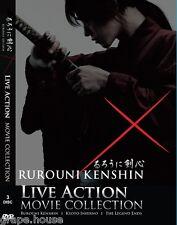 DVD Samurai X Rurouni Kenshin + Kyoto Inferno + Legend Ends 3 Movie Live Action
