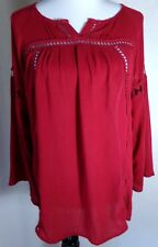Imaginary Voyage Women Shirt Top Blouse Crochet Burgundy Red Boho Gypsy Sz M