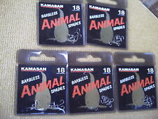 50 x Kamasan Animal Barbless Spade End  Size 18  Hooks. Strong Hook for big fish