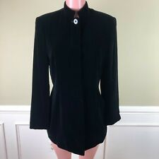 2274d45a7510 Lord & Taylor Womens Jacket Black Velvet Silk Blend Long Lined Career Work  ...