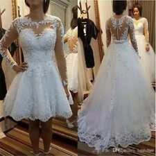 Detachable Skirt Lace Appliques Wedding Dress Illusion Long Sleeve Bridal Gown