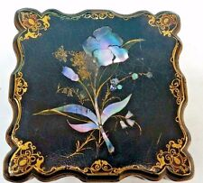 Antique Hinged Lacquered Box with Mother of Pearl Inlays