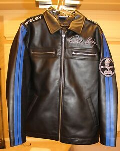 Carroll Shelby Racing Black Leather Blue Stripe Racing Jacket XL Extra Large