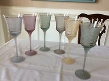 Vintage Frosted Colored Wine Glasses Stemware w/Gold Rings Multi Color Set 6