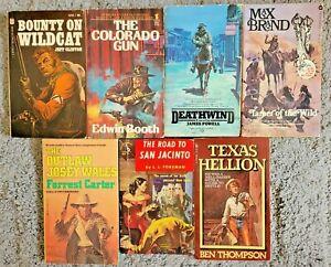 VINTAGE WESTERN PAPERBACK 7 BOOK LOT NOVELS BOOKS ALL DIFFERENT WESTERNS