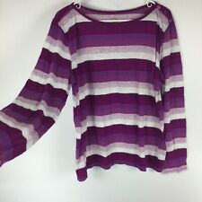 Amber Sun Womens Size XL Striped Boat Neck Long Sleeve Top Semi Sheer. W