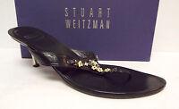 STUART WEITZMAN Size 11 Black Thong Slide Sandals Shoes w/ Flowers