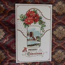 Vintage Postcard A Merry Christmas, Winter Church Scene, Red Flowers, Holly