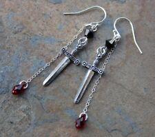 Black Knight Sword + Blood Drop Silver Earrings for Monty Python Holy Grail Fans
