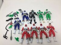 Lot Of 9 Power Rangers Figure Bandai 1998 lost Galaxy red green blue + weapons