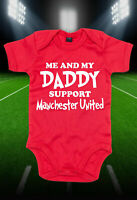 Me And My Daddy Support Manchester Bodysuit Cute Baby Grow Vest Bodysuit