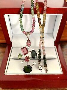 "14K White Gold Natural 10.10CT Pink Green Tourmaline Diamond Necklace 16"" Tread"