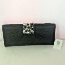 Jessica McClintock Womens Clutch Handbag Black Satin Jeweled NWT