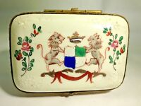 Antique French 18th Century Hand Painted Porcelain Coat of Arms Trinket Box