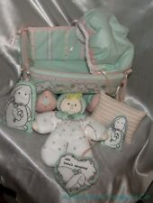 Handmade Plush Stuffed Mint Green Bunny Soft Cloth Baby Doll & Cradle 6-Pc Set