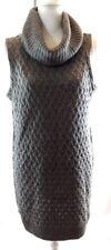 Adrienne Vittadini Women's Sweater Dress Tunic Large Gray Sleeveless Cowl Neck