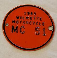 Wilmette IL Motorcycle License Plate 1983 Round MC 51