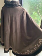 DENNIS BASSO Warm Brown CAPE PONCHO COAT PLUS Size 26 28 30 Faux Fur Lined NEW