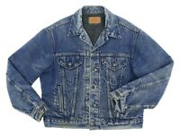 Vintage LEVIS Denim Jacket USA 44 Mens INDIGO Lined Motorcycle TRUCKER Jacket