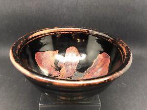 Paul Green Abbey Studio Pottery Tenmoku Glaze Bowl 13.5 Cm Diameter (Or394)