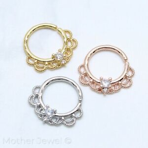 SIMULATED DIAMOND SILVER 14K YELLOW ROSE GOLD IP NOSE SEPTUM CARTILAGE HOOP RING