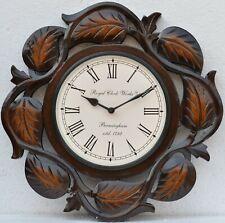 Indian Handmade Wooden Carving Polish Wall Clock Hanging Watch